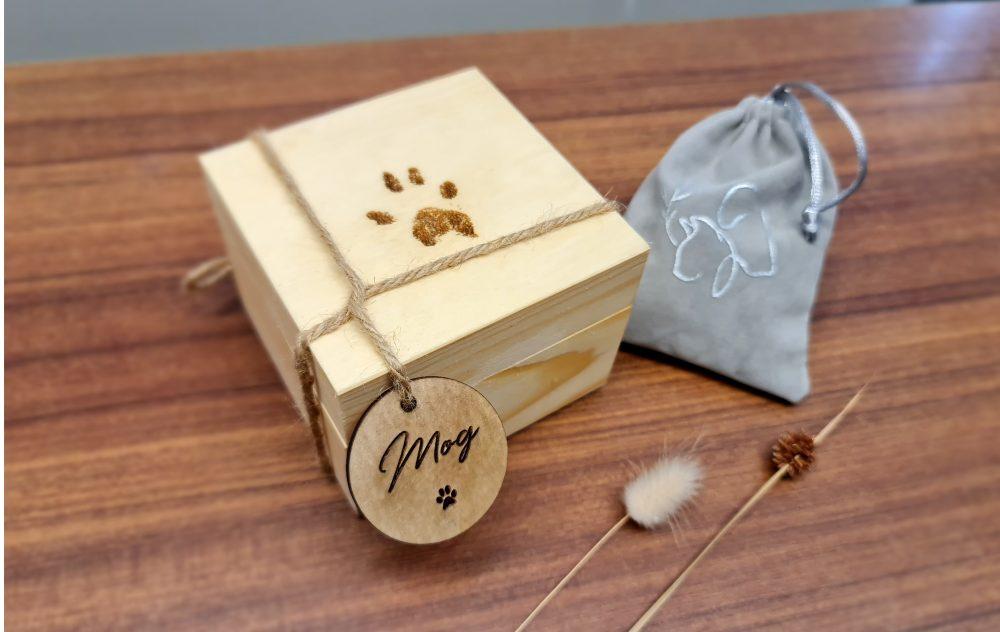 dog urn wooden box